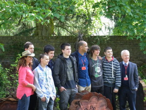 The student team who created the Stumpery with their tutor Zephaniah Lindo and the Principal (far right) Steve Dowbiggin